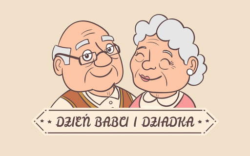 ilustracja przedstawiająca babcię i dziadka w formie portretu
