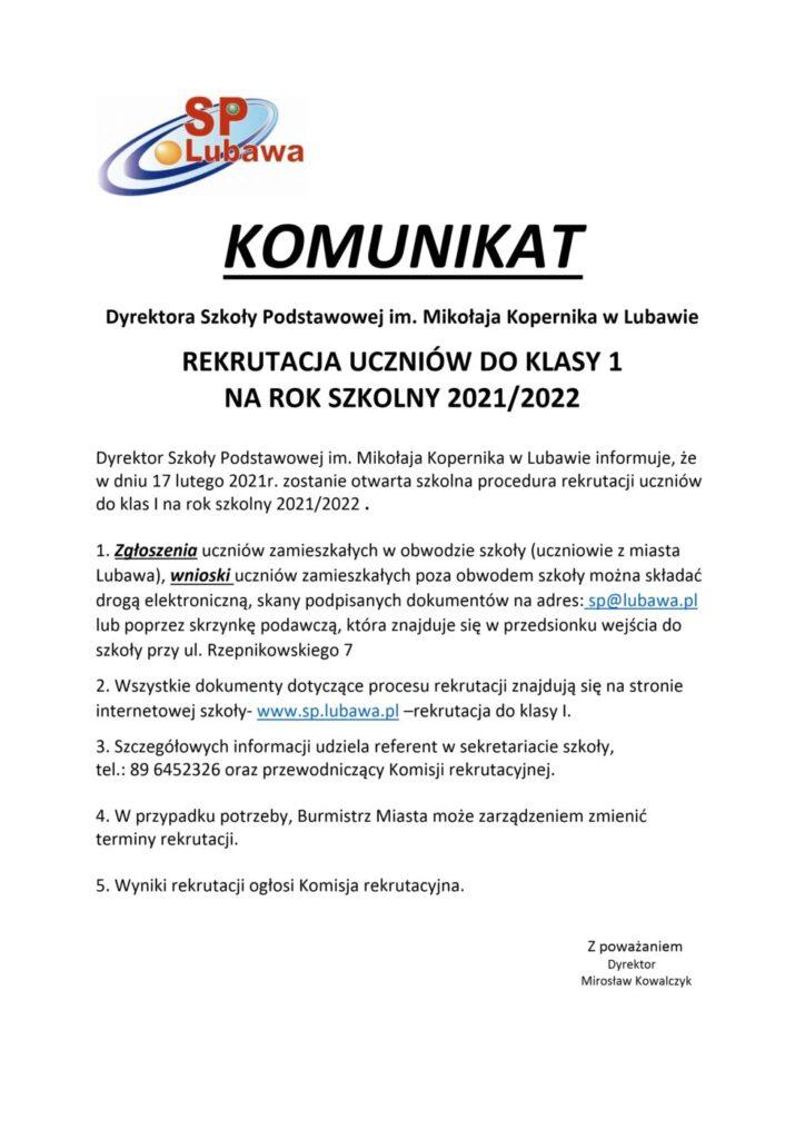 Komunikat dyrektora Szkoły Podstawowej w Lubawie - Rekrutacja do klasy I na rok szkolny 2021 2022