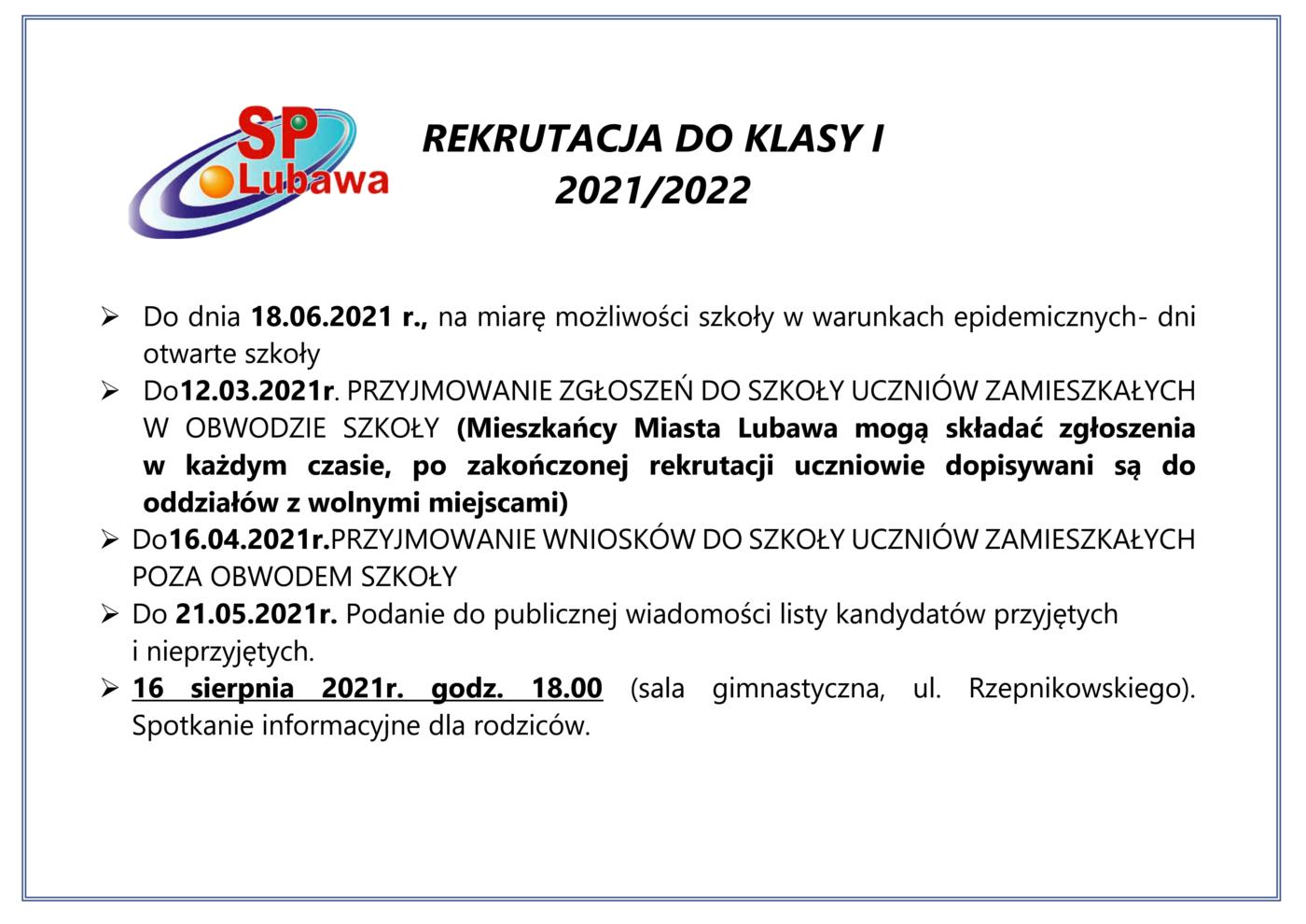 Plakat informujący o REKRUTACJA DO KLASY I